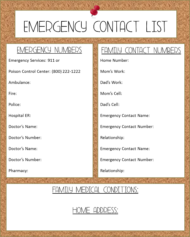 Emergency Contacts List Printable