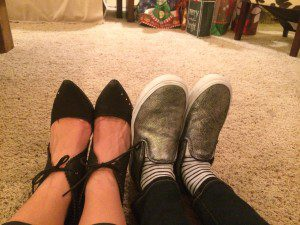 """This is a shoe selfie my sister-in-law and I took to point out how different we are. My ankles are fat and we look like we're lying flattened underneath a house after an """"Aunty Em"""" tornado. Didn't post."""