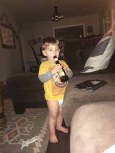 This is my youngest son. Wearing a diaper. Drinking a beer. Not really, but stiiiillllll
