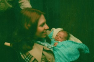 My mom and me on our way home from the hospital.