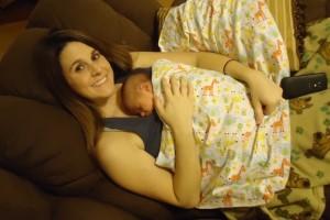 mom and sleeping baby