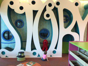 Story time takes place behind this magical wall.