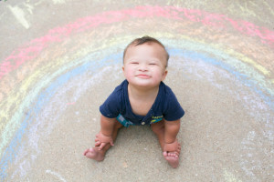 Kids and Rainbow Chalk PRINT-005