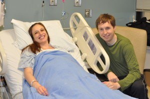 Pregnant, woman, hospital bed