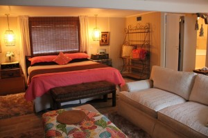 A view of the king size be in the Magnolia Suite.