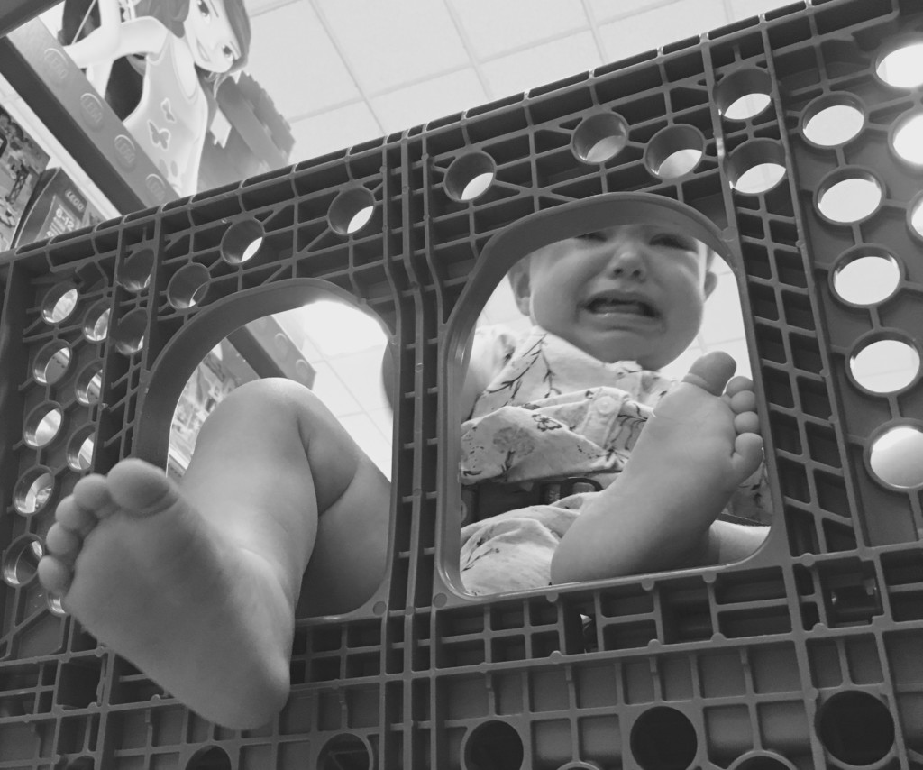 baby crying in cart