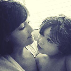 Mom and Little Boy B&W