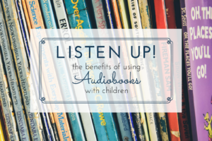 listen up header with books