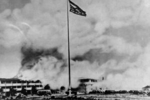 hickam_field_flag_with_burning_barracks_1941