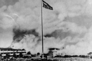 hickam_field_flag_with_burning_barracks_1941