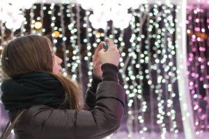 girl Christmas lights