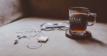 Coffee, glasses, and headphone
