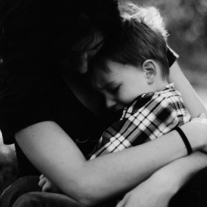 sad child and mom