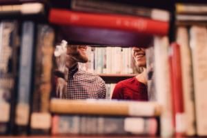 couple in love in library