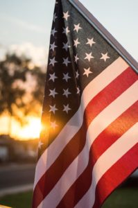 american flag, sunset