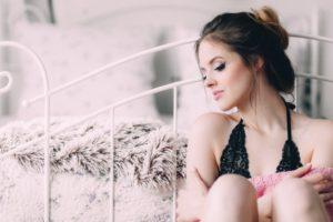 woman bed bra