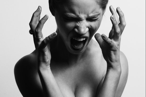 woman yelling black and white
