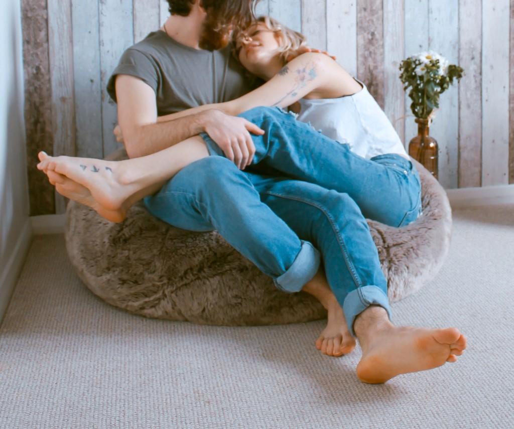 couple snuggle marriage