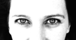 black-and-white woman's eyes