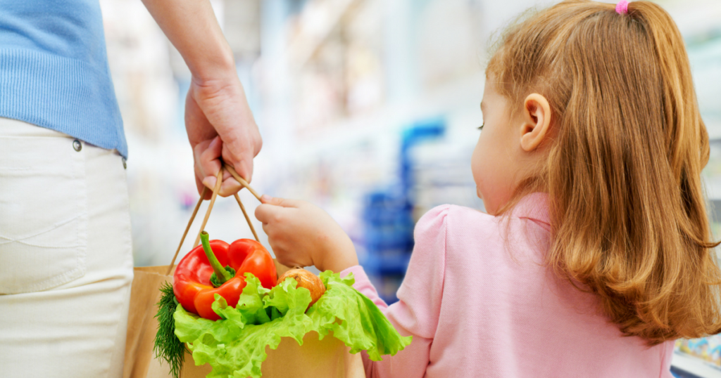 grocery store, shopping with kids