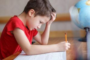 Stressed Boy Studying