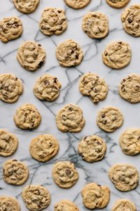 chocolate chip cookies on marble