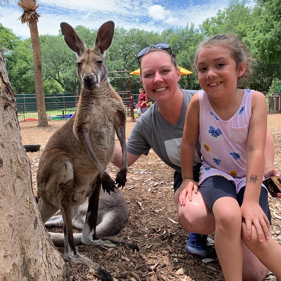 woman child kangaroo