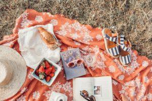 picnic blanket food books
