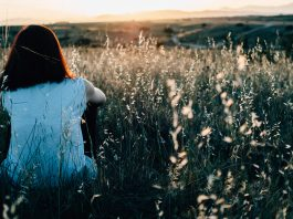 woman sitting in grass gazing at sunset