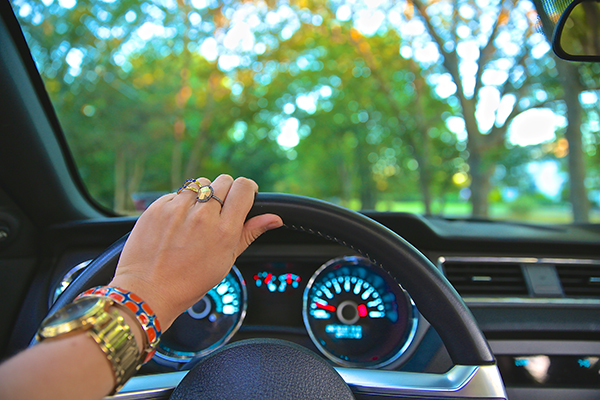 holding a steering wheel
