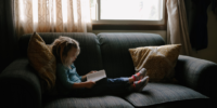 Reading is a great quiet time activity for kids.