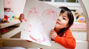 Kids learn crafts at preschool.
