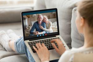 talking to grandparents via computer