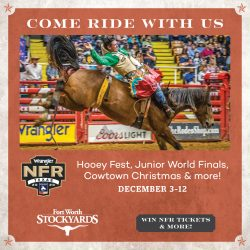 Head to the Stockyards for a National Finals Rodeo watch party and Cowboy Christmas.