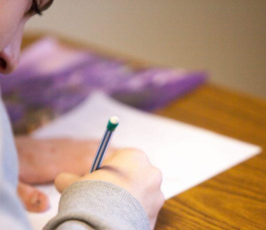 Student taking test