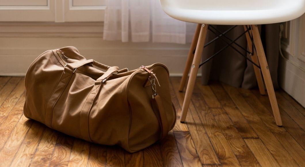canvas bag on floor