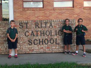 Kids attending St. Rita Catholic School, a parochial school.