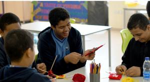 school boys crafting